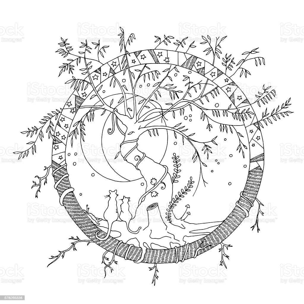 Imaginary world adult coloring page. Moon staring cats, willow tree. vector art illustration