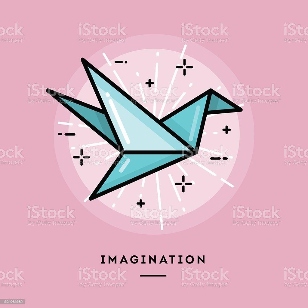 Imagination, flat design thin line banner vector art illustration