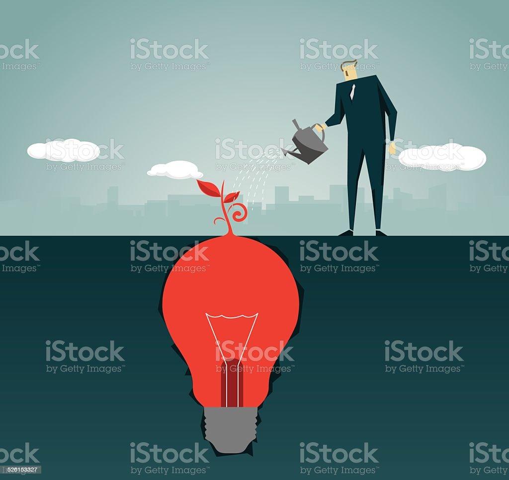 Imagination, Intelligence Tree , Strategy,Solution, Light Bulb, Lamp vector art illustration