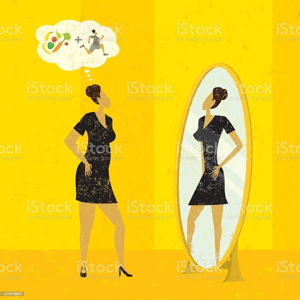 Imagining a slimmer figure royalty-free stock vector art