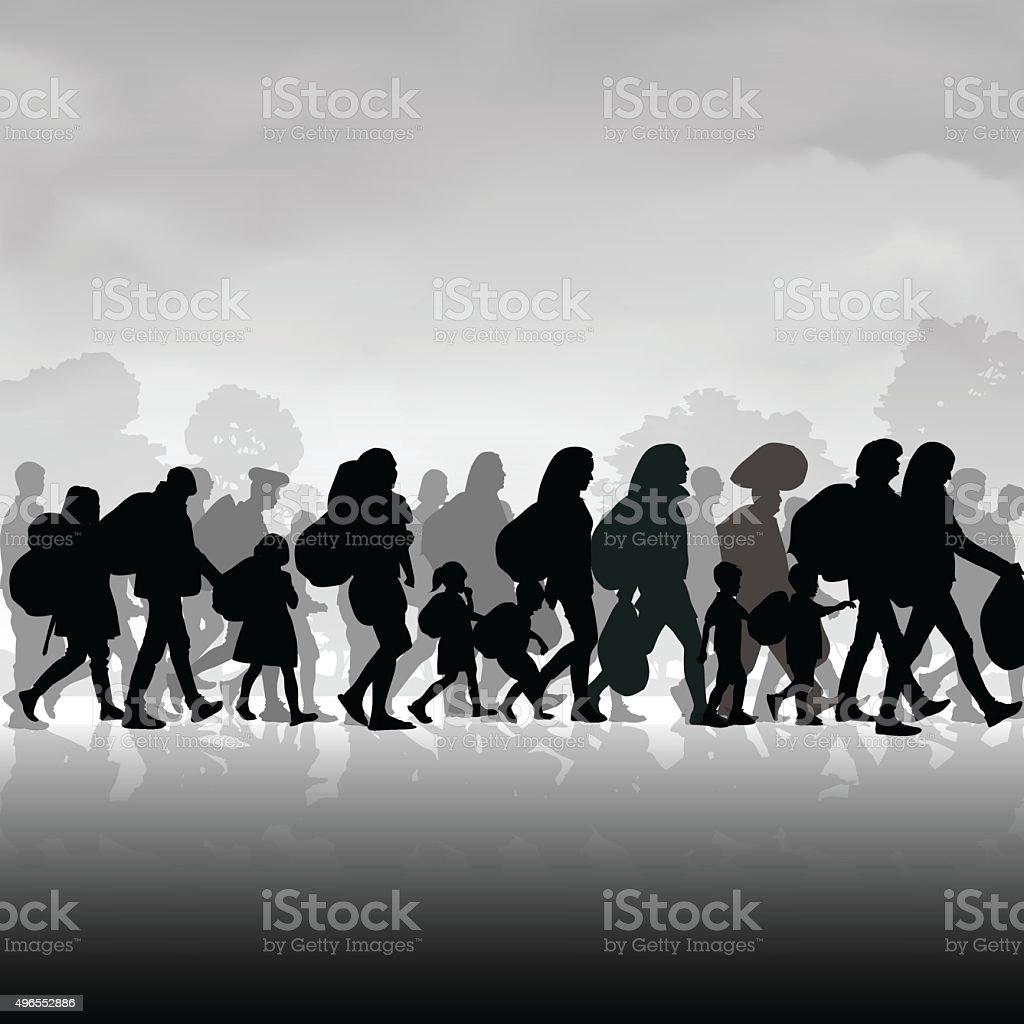 Immigration people vector art illustration