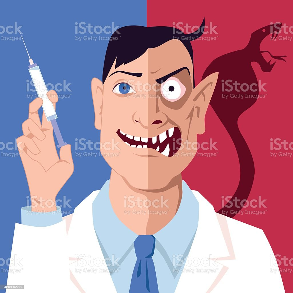 Immunization confrontation vector art illustration