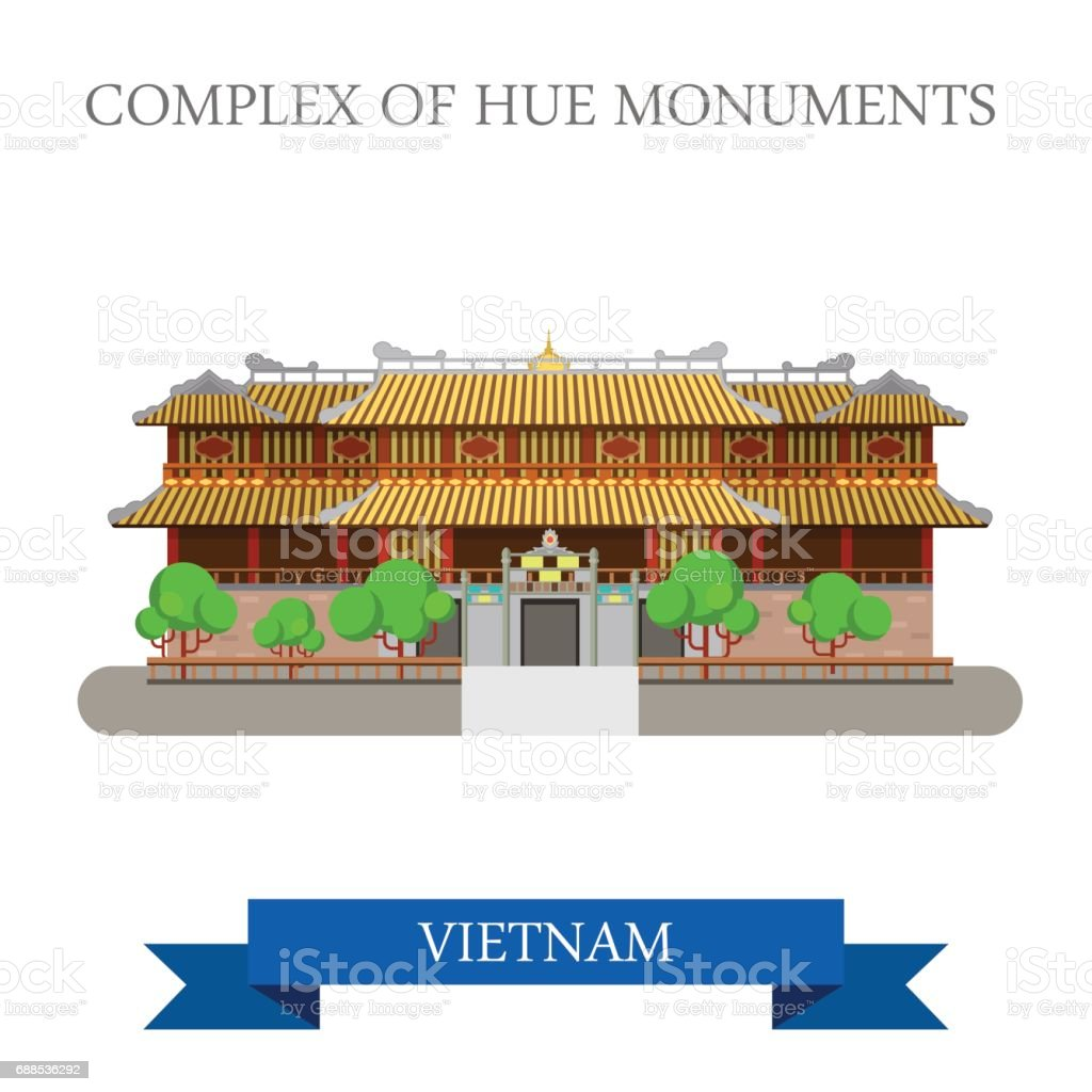 Imperial City aka Complex of Hue Monuments in Vietnam. Flat cartoon style historic sight showplace attraction web site vector illustration. World cities vacation travel sightseeing Asia collection. vector art illustration