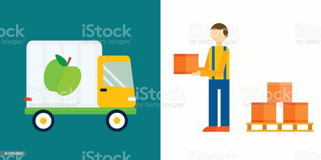 Import export fruits truck vector illustration vector art illustration