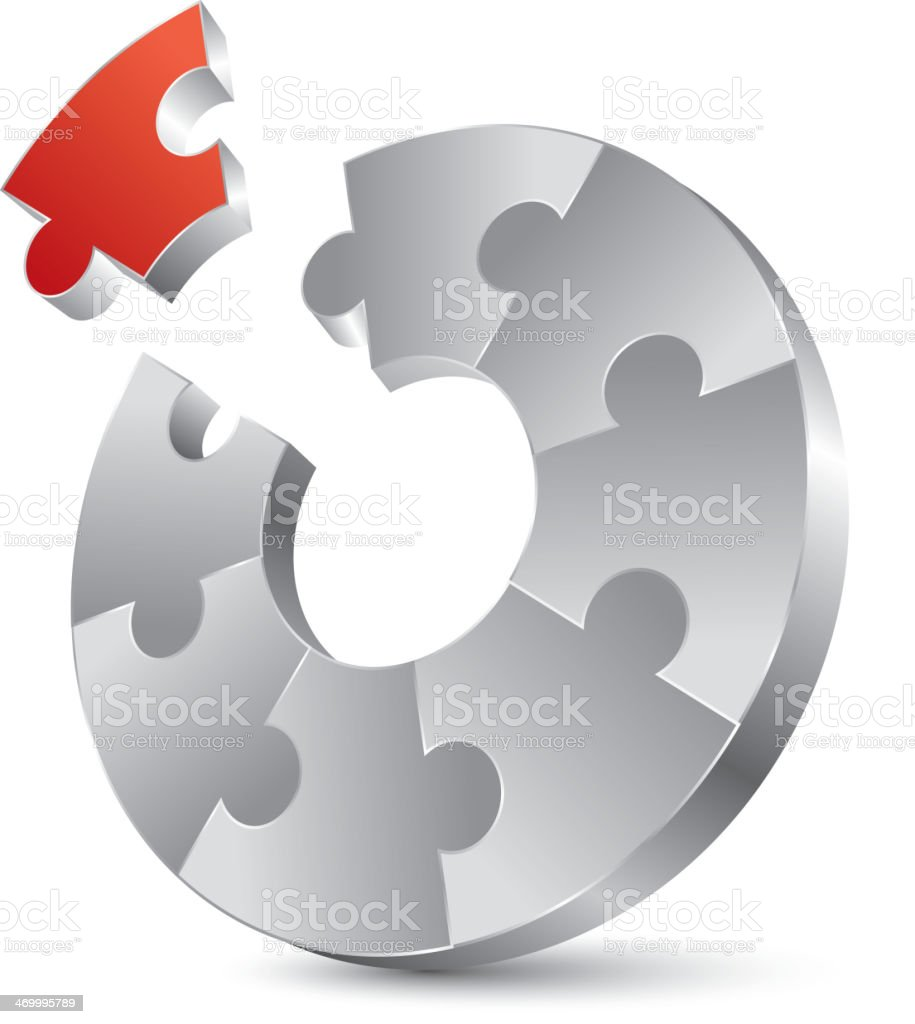 Important red puzzle royalty-free stock vector art