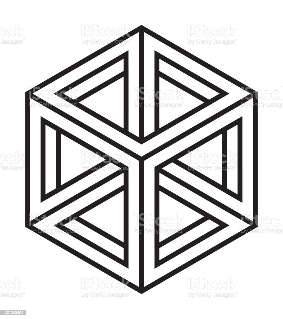 Impossible cube, line design vector art illustration