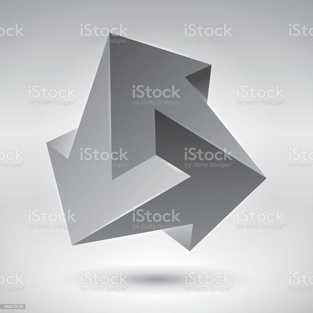 Impossible figure, 3 arrows vector art illustration