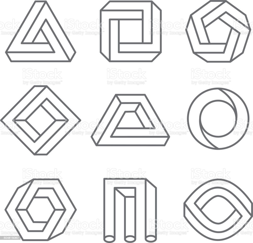 Impossible geometric shapes in linear outline style. Vector hipster elements vector art illustration