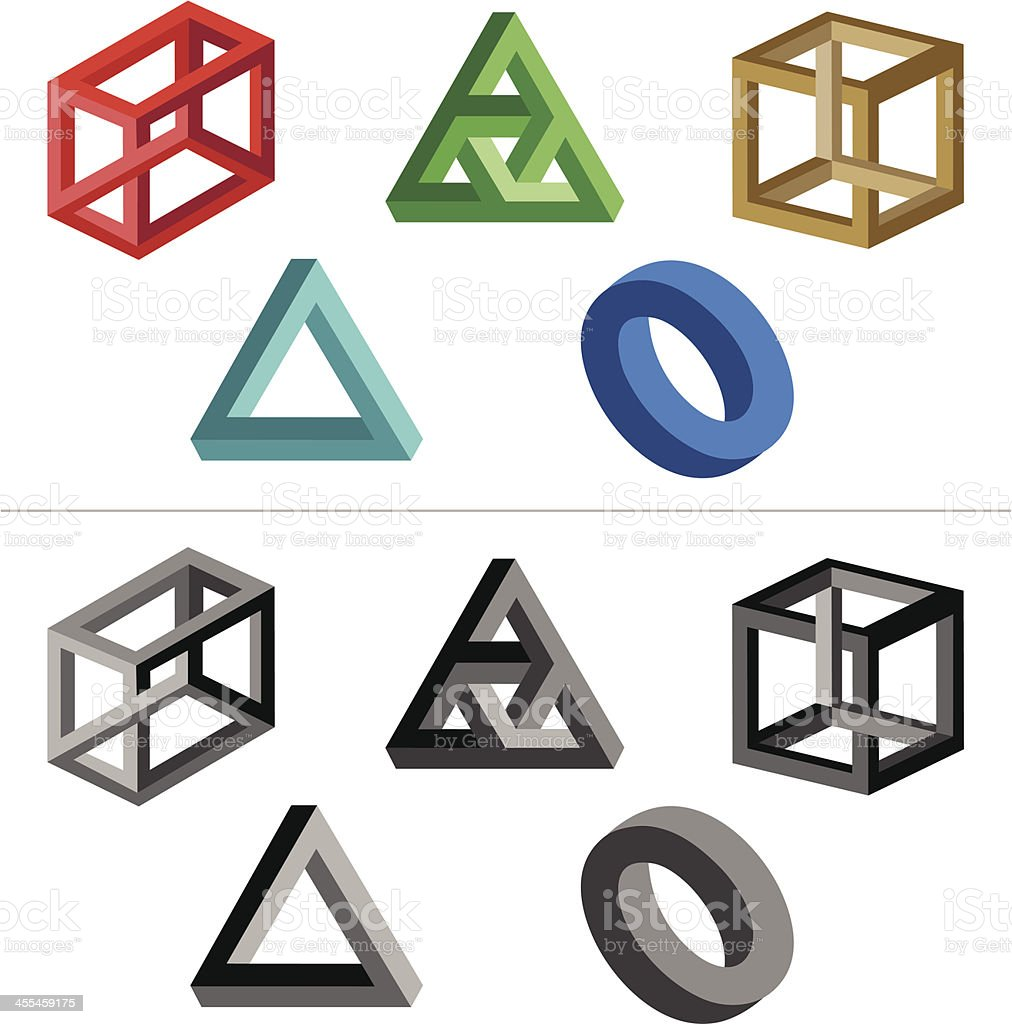 Impossible Objects (Solid Colours) vector art illustration