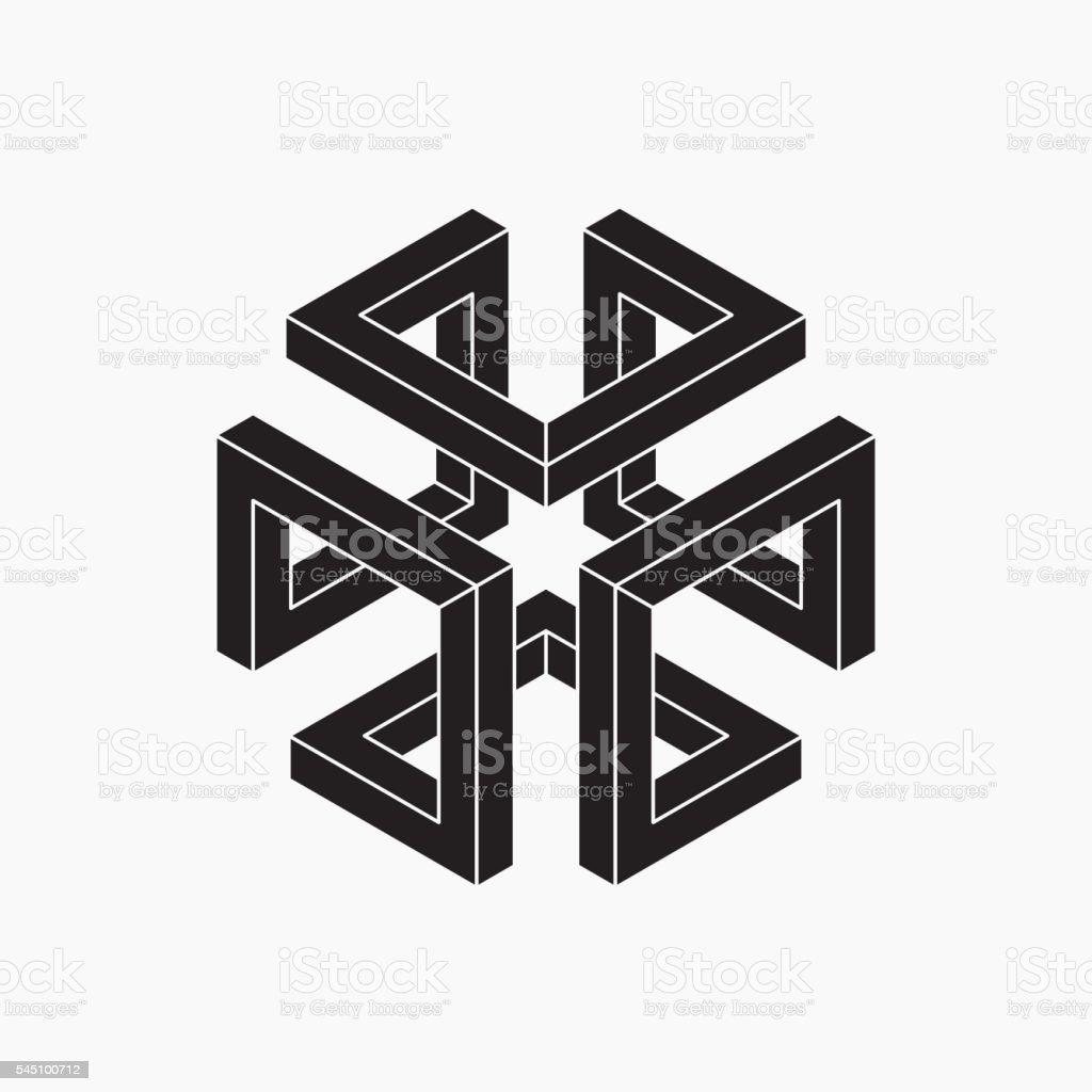 Impossible shape. Cube vector art illustration