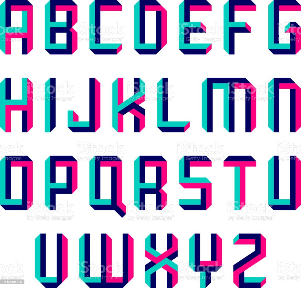 Impossible shape font vector art illustration