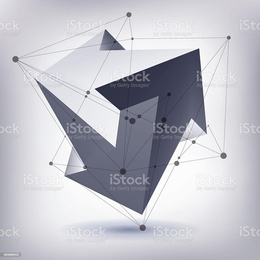 Impossible shape, unreal arrows, 3 arrows vector, crystal, 3D vector art illustration