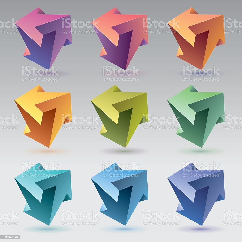 Impossible shapes, arrows, unreal crystals vector art illustration