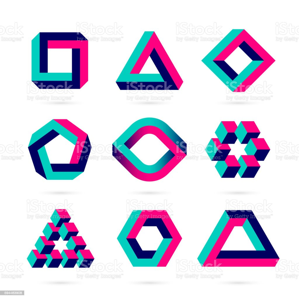 Impossible shapes vector art illustration