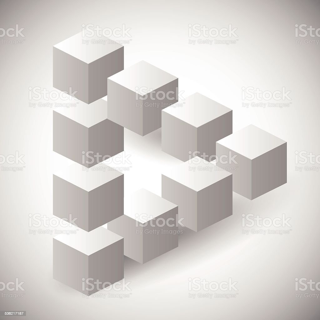 Impossible triangle made with cubes, geometrical shape vector art illustration