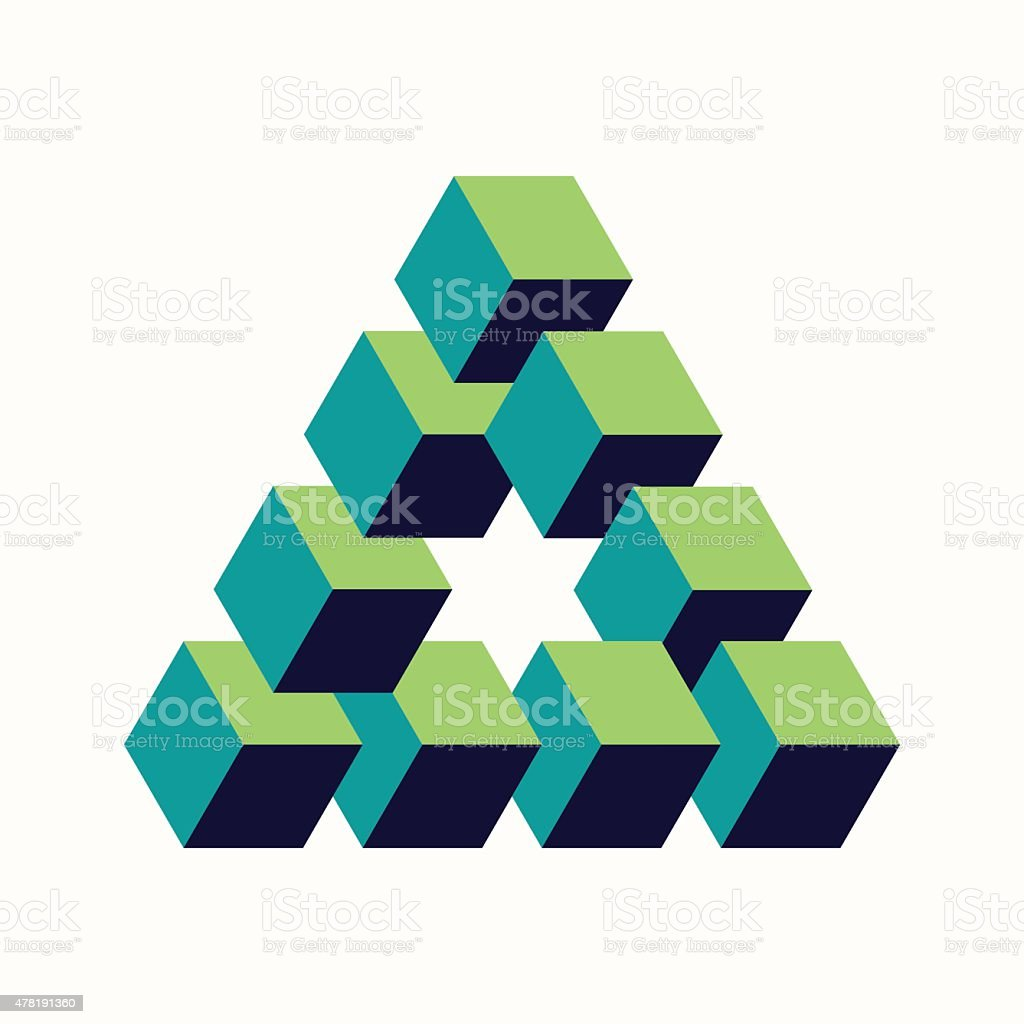 Impossible triangle sign isometric cubes shape vector art illustration