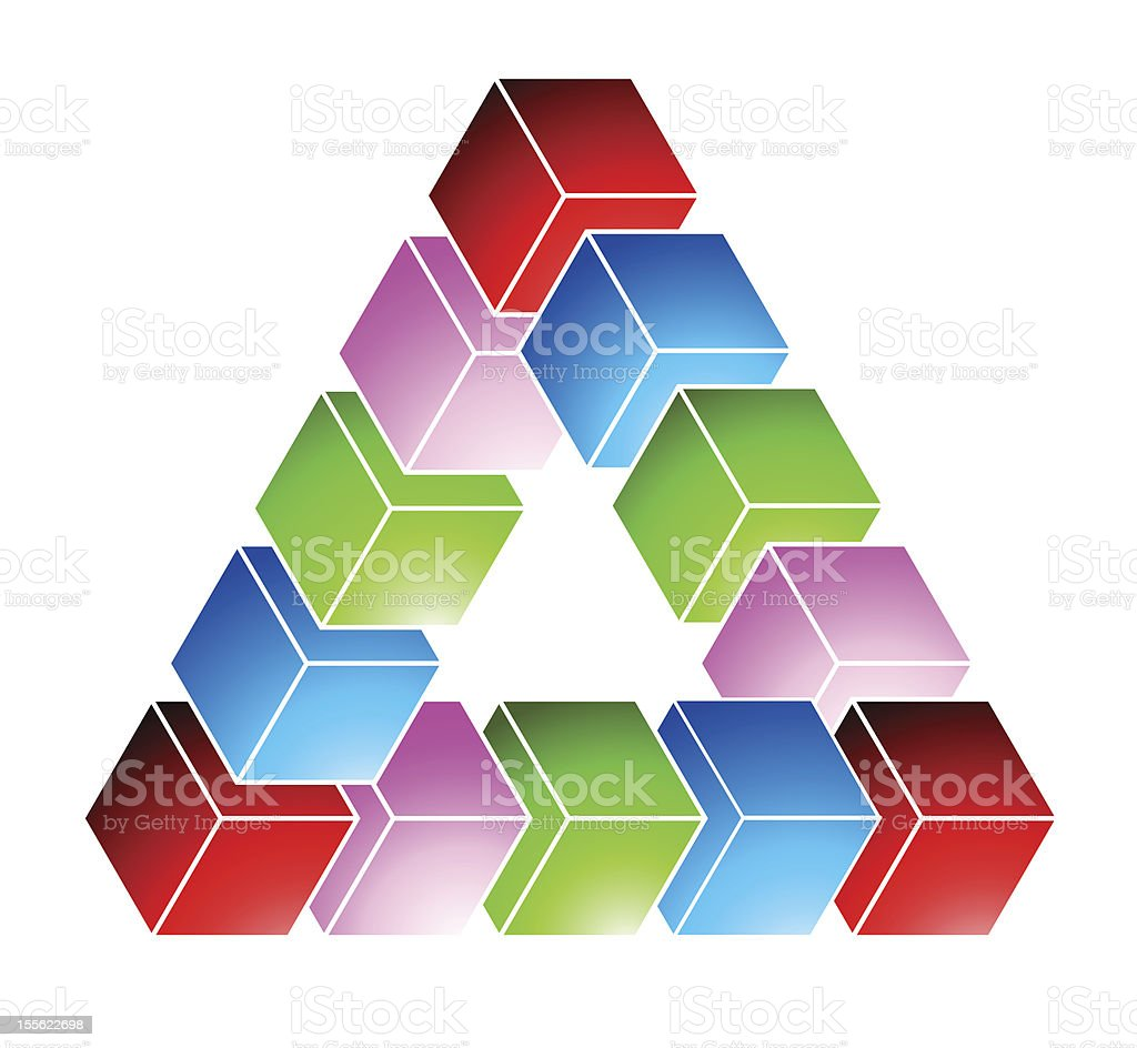 Impossible triangle royalty-free stock vector art