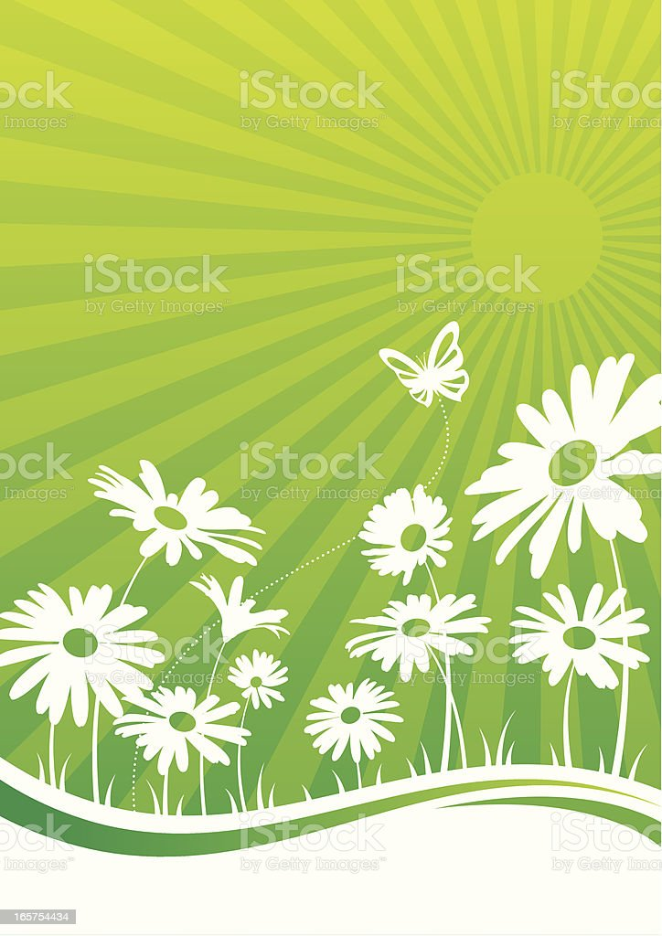 Impression of flowers with a butterfly in green and white vector art illustration
