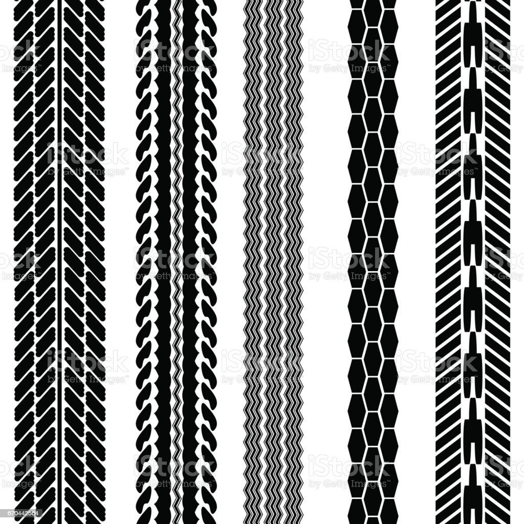 Imprints Tires Set vector art illustration