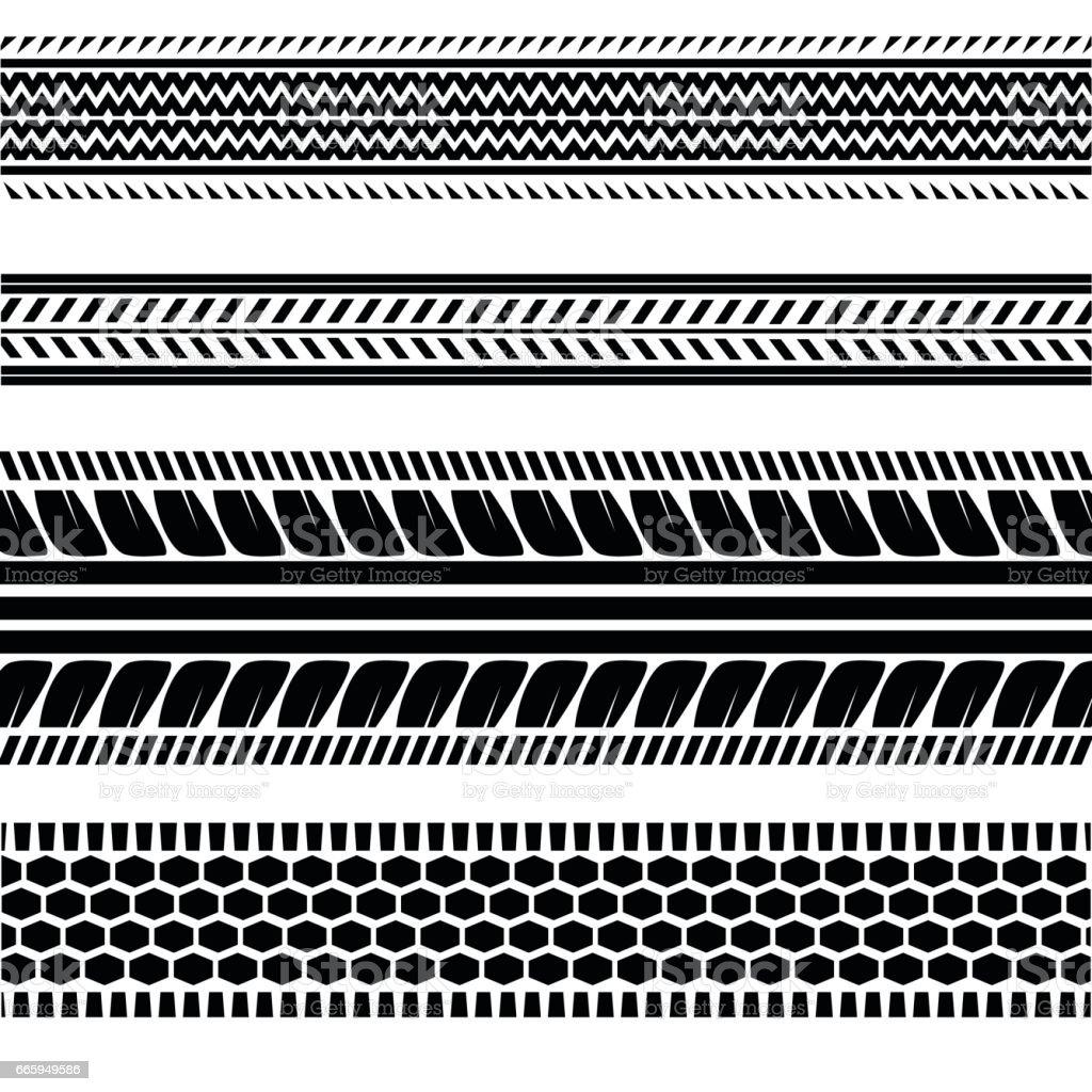 Imprints Tires Track vector art illustration