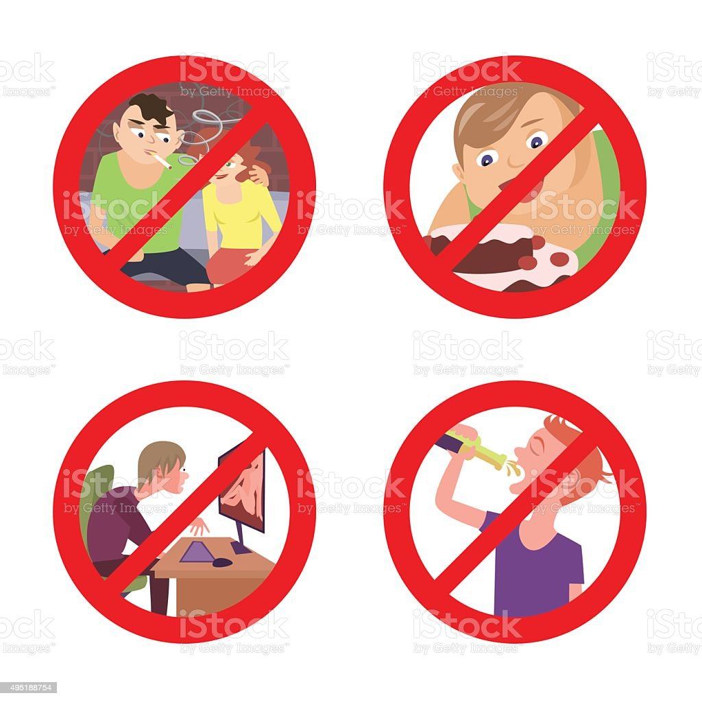 improper conduct prohibition signs vector art illustration