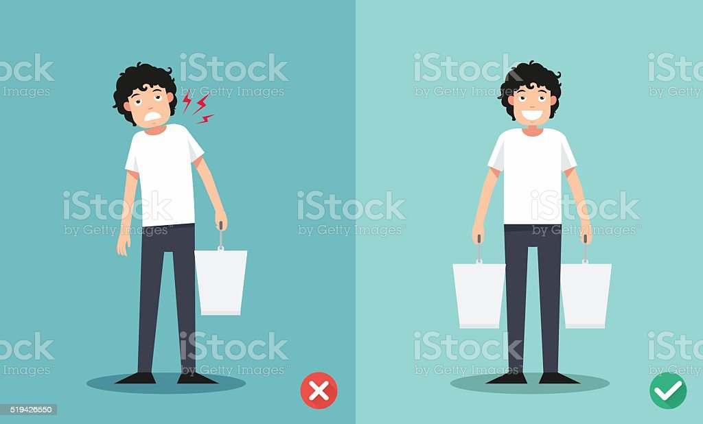 Improper versus against proper lifting ,illustration vector art illustration