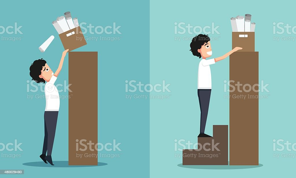 Improper versus against proper lifting vector art illustration