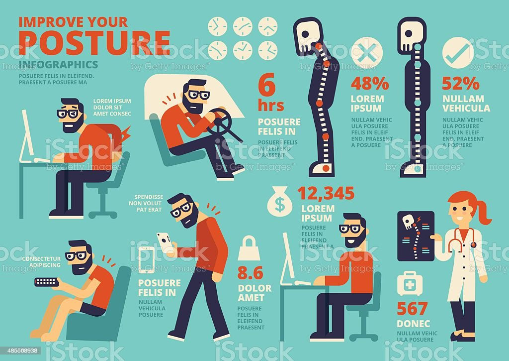 Improve Your Posture Infographics vector art illustration