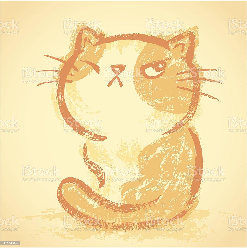 Impudent cat bad mood royalty-free stock vector art