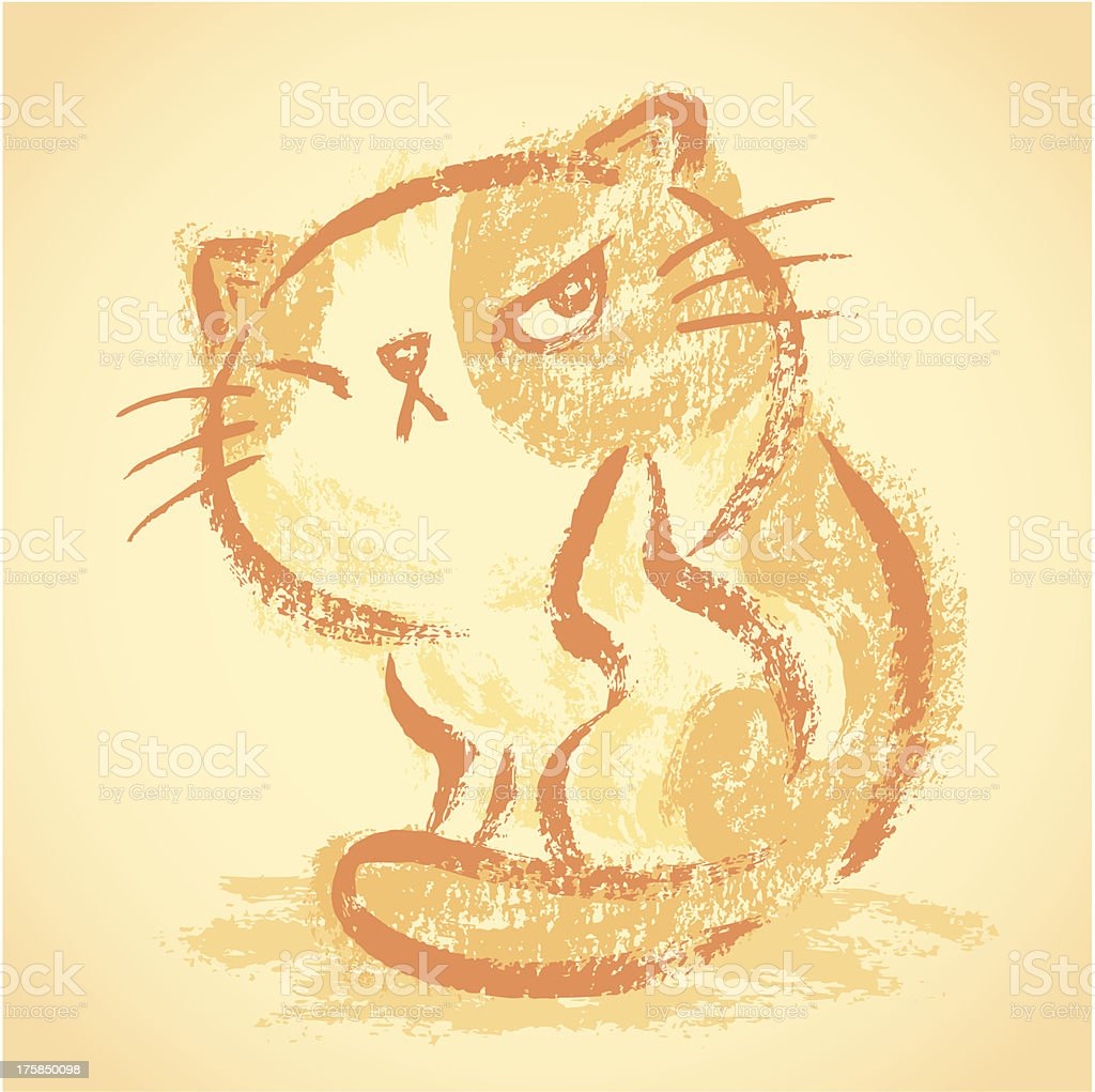 Impudent cat itchy royalty-free stock vector art