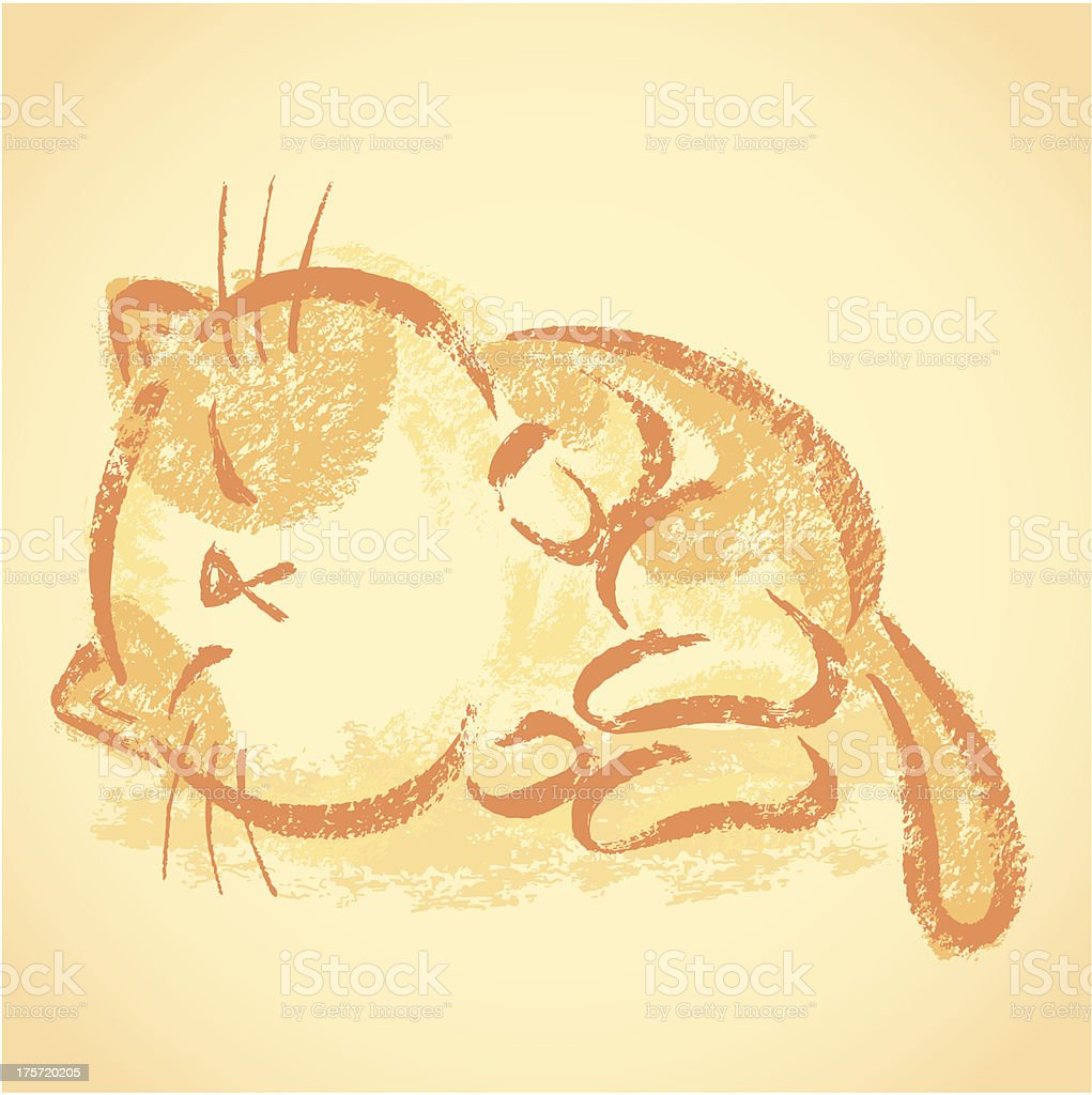 Impudent cat sleeping royalty-free stock vector art