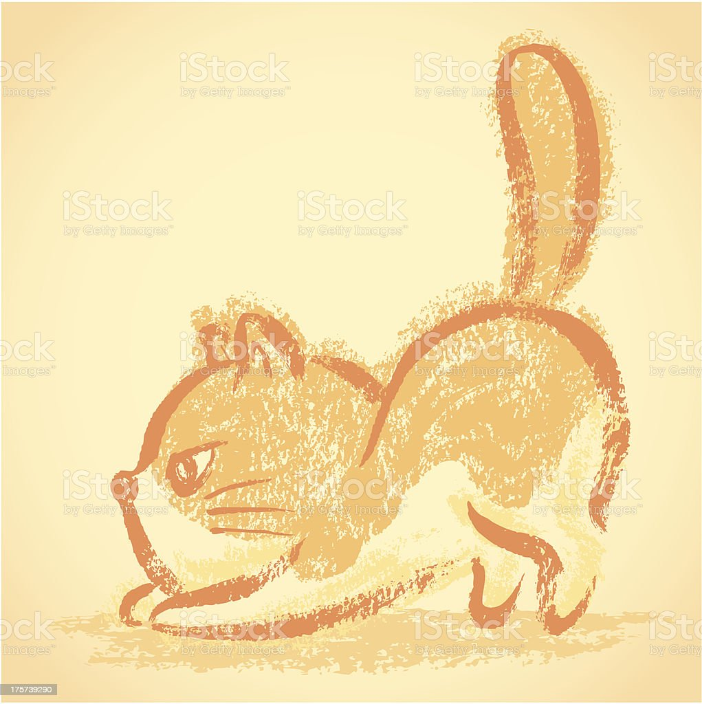 Impudent cat stretch royalty-free stock vector art
