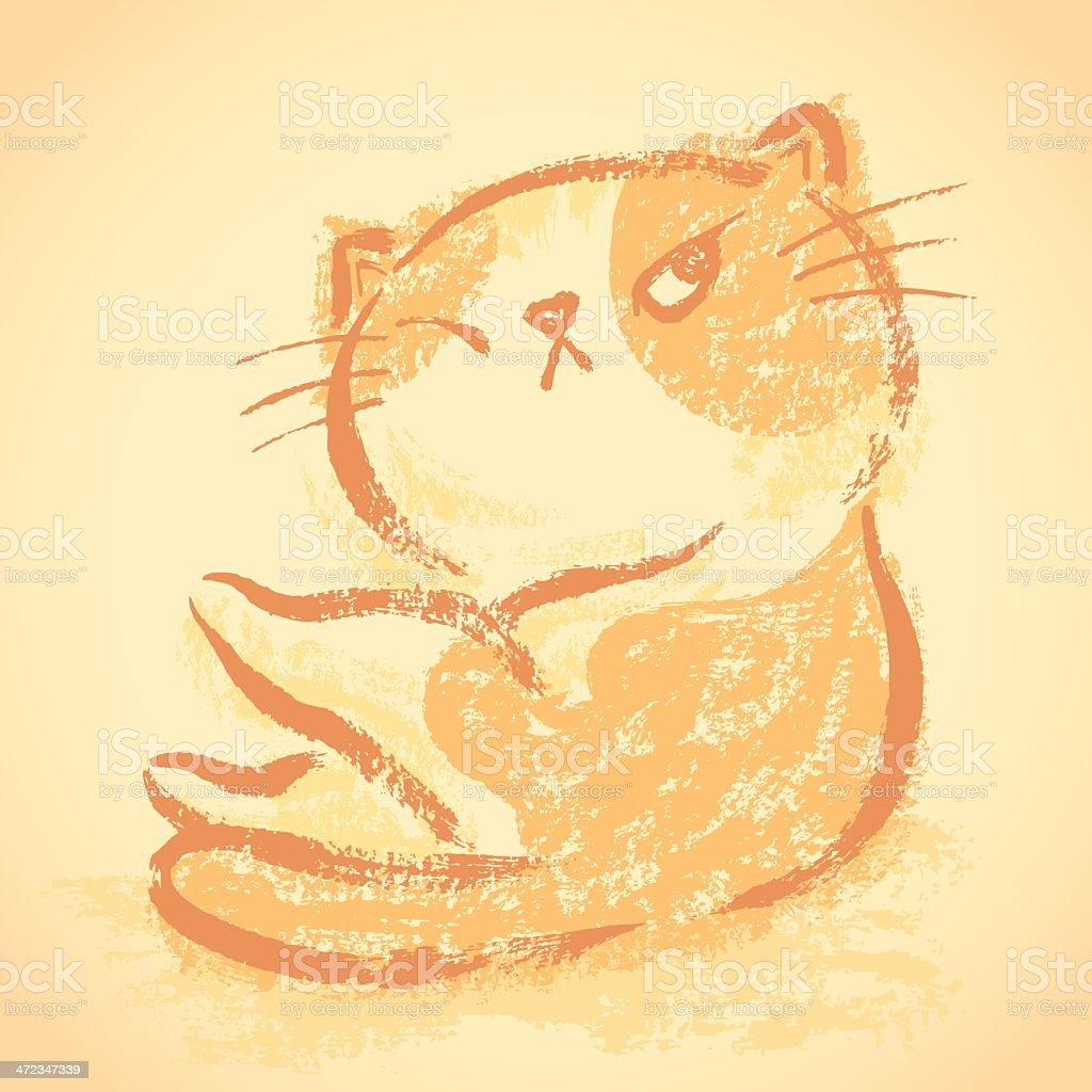 Impudent cat wake up royalty-free stock vector art