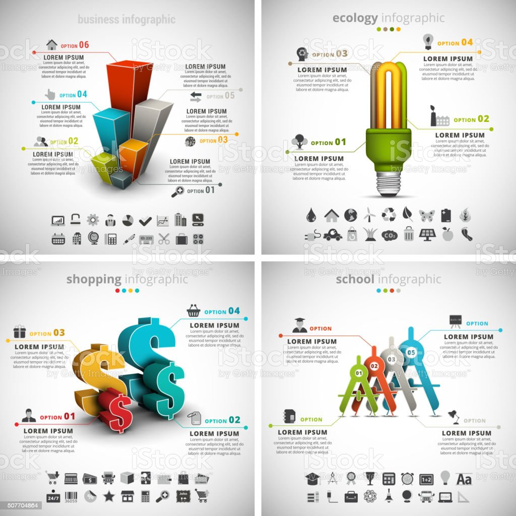 4 in 1 Business Infographics Bundle vector art illustration