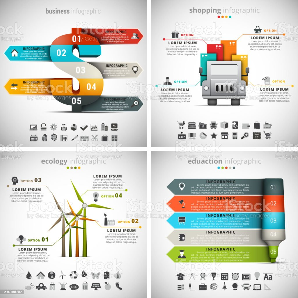 4 in 1  Infographics Bundle vector art illustration