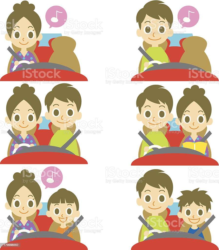 FAMILY in a car, driver royalty-free stock vector art