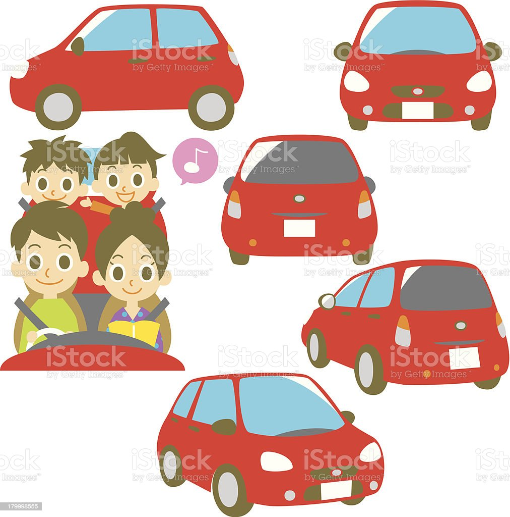 FAMILY in a red car vector art illustration