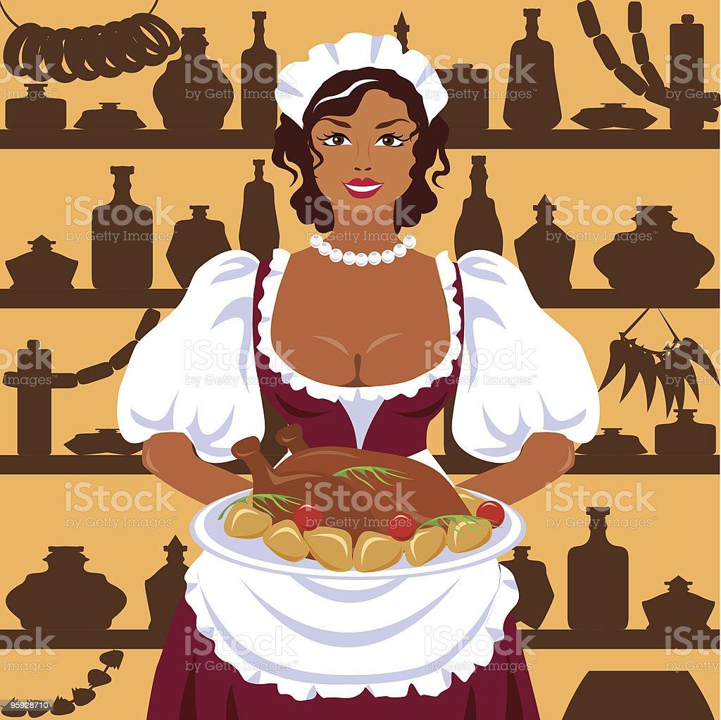 In a tavern. vector art illustration