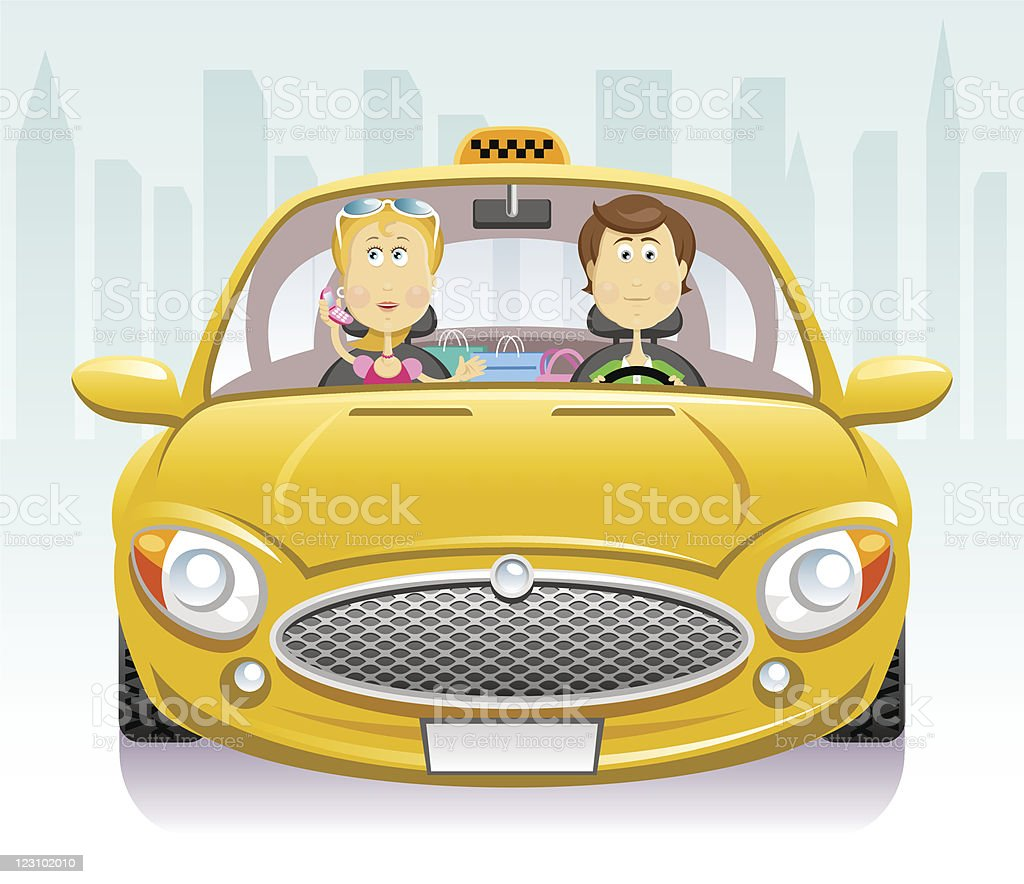 In a taxi vector art illustration
