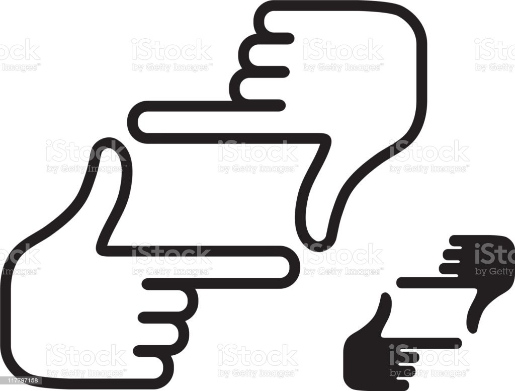 in focus hand sign black and white set royalty-free stock vector art