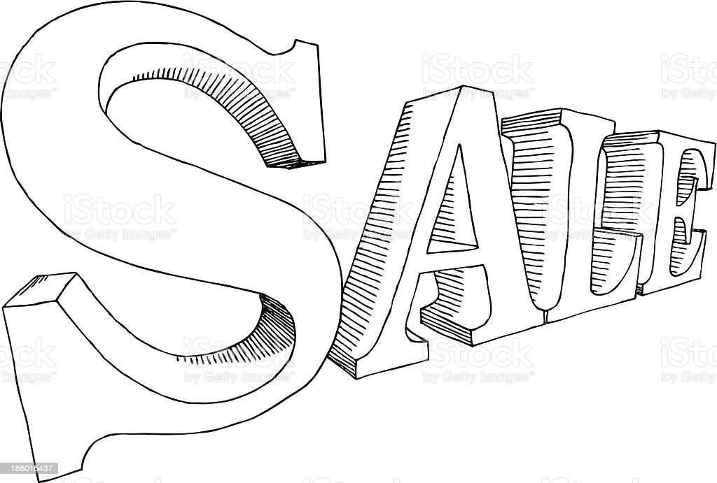SALE in hand-drawn letters royalty-free stock vector art