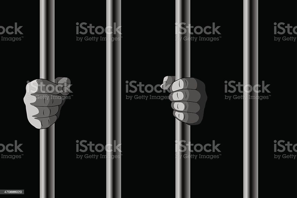In Jail vector art illustration