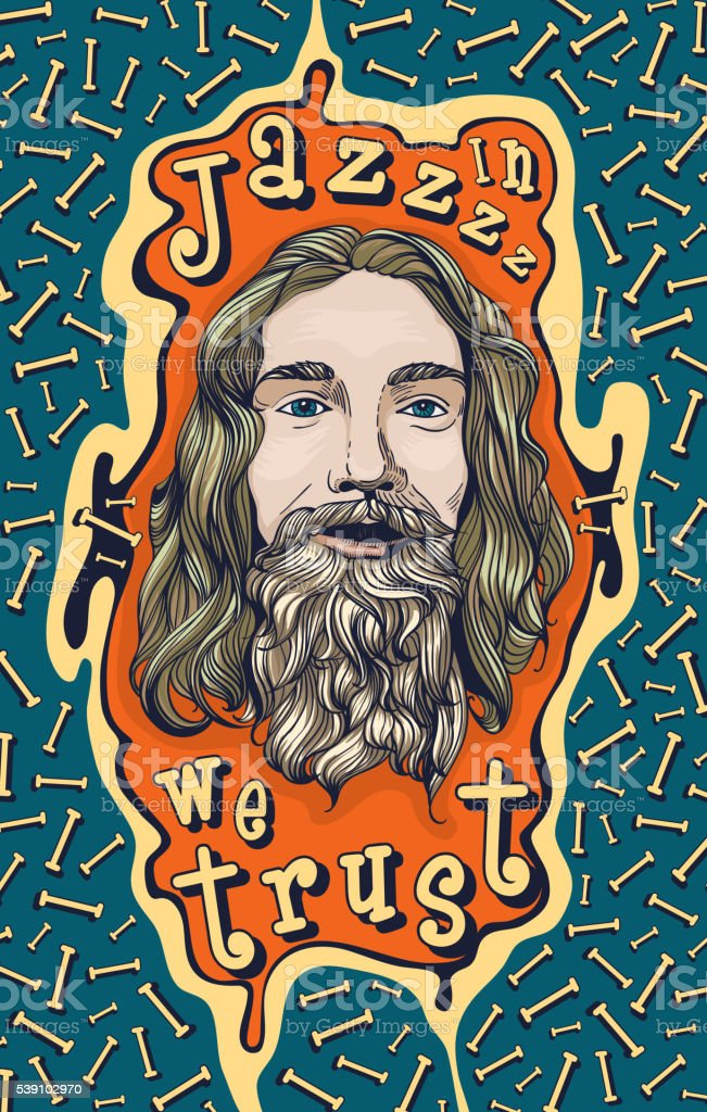 In Jazz we trust. Poster design vector art illustration