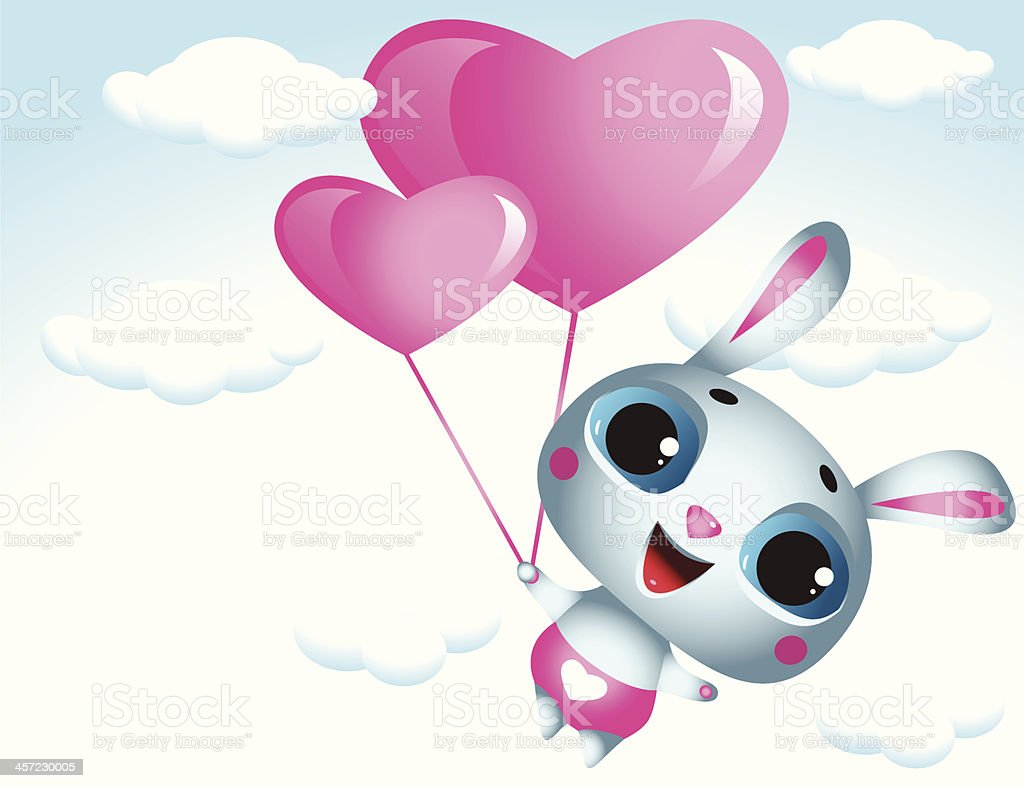 In Love flying Bunny - Illustration royalty-free stock vector art