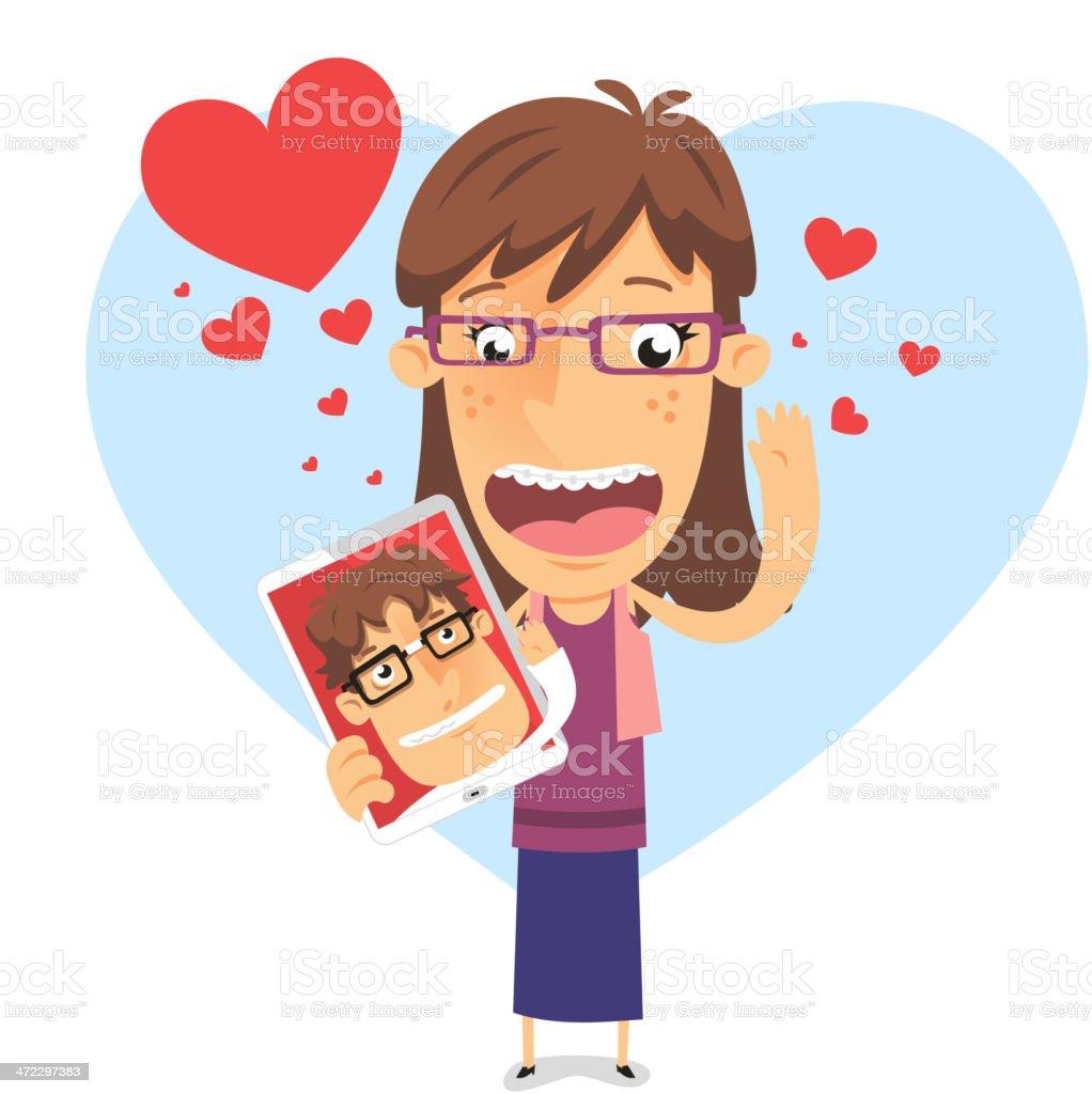 In love geek girl holding an Ipad with nerd boyfriend vector art illustration