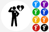 in Love Stick Figure Icon on Flat Color Circle Buttons