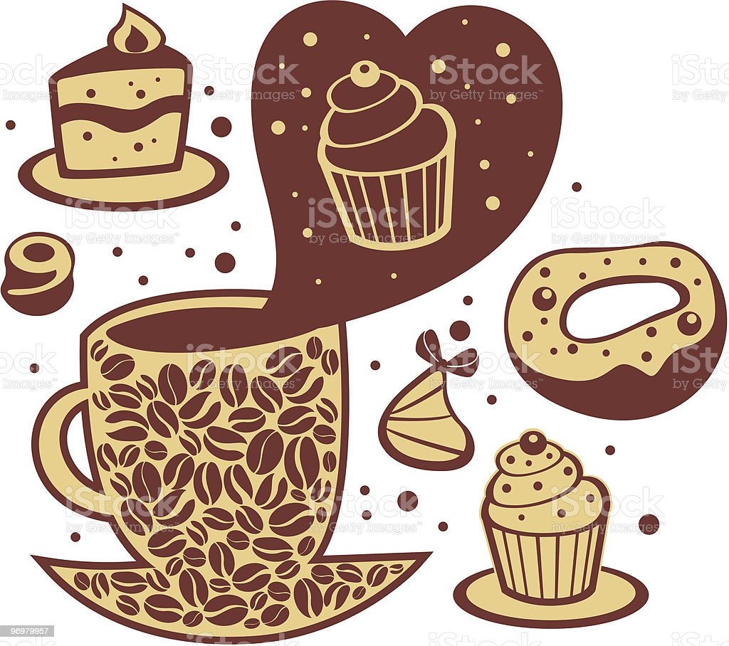 In love with coffee and sweets royalty-free stock vector art