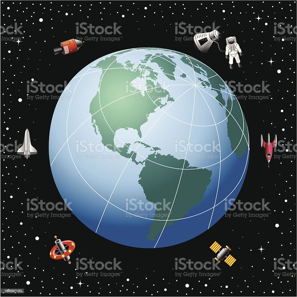 In orbit around the Earth royalty-free stock vector art