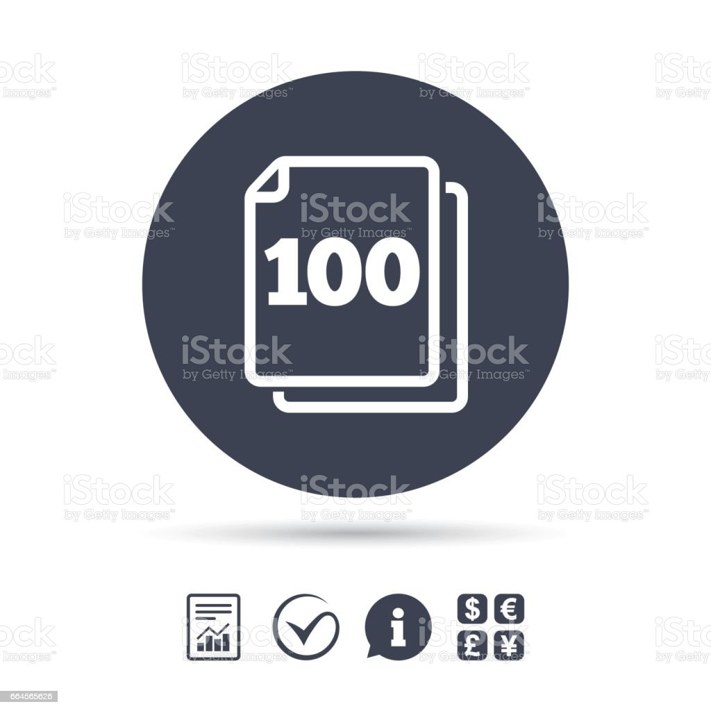 In pack 100 sheets sign icon. 100 papers symbol. vector art illustration