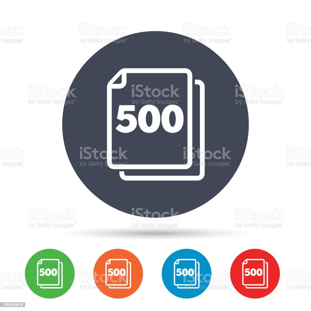 In pack 500 sheets sign icon. 500 papers symbol. vector art illustration